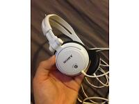 White Sony headphones