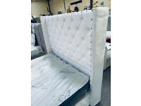 🔴🔵 BEAUTIFUL DESIGN PLUSH VELVET WHITE DOUBLE BED WITH MATTRESSONLY 340 GBP, ASK FOR DELIVERY