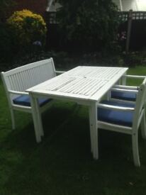 Here we have a high quality hardwood patio table, bench & 2 chairs