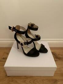 BNIB Karen Millen shoes / heels satin embellished buckle sandals RRP £185 size 4