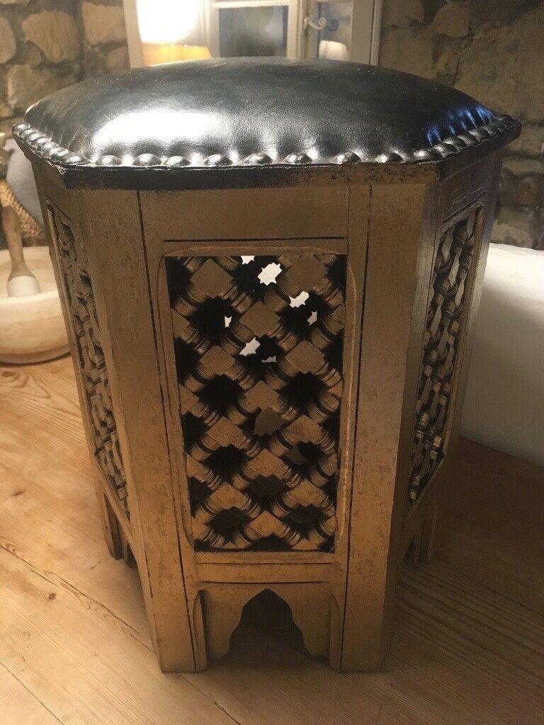 Marvelous Black Gold Eastern Style Wooden Stool In Winterbourne Bristol Gumtree Machost Co Dining Chair Design Ideas Machostcouk
