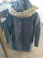 Sz s women's charcoal gray long columbia jacket