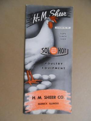 C.1950 H.m. Sheer Sol-hot Poultry Equipment Catalog Quincy Illinois Vintage Vg