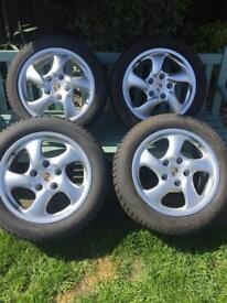 """Genuine Porsche twist 17"""" Alloy Wheel Set"""