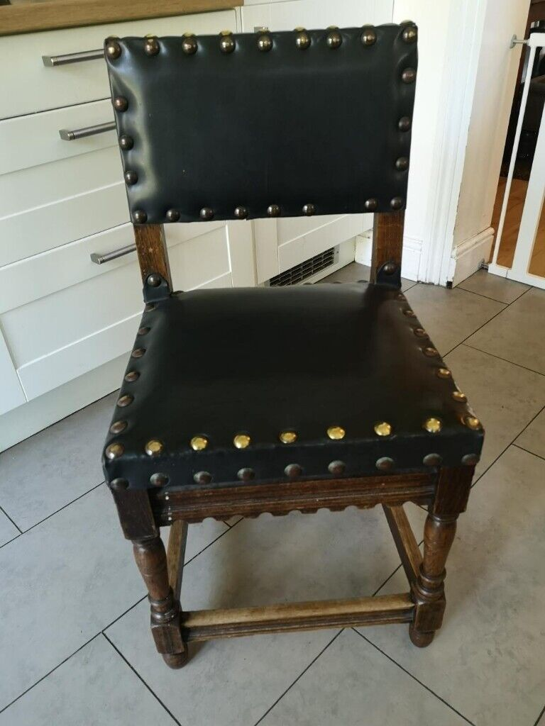 Peachy 6 Antique Vintage 1890 Handmade Black Leather Wood Studded Dining Chairs In Acton London Gumtree Gmtry Best Dining Table And Chair Ideas Images Gmtryco