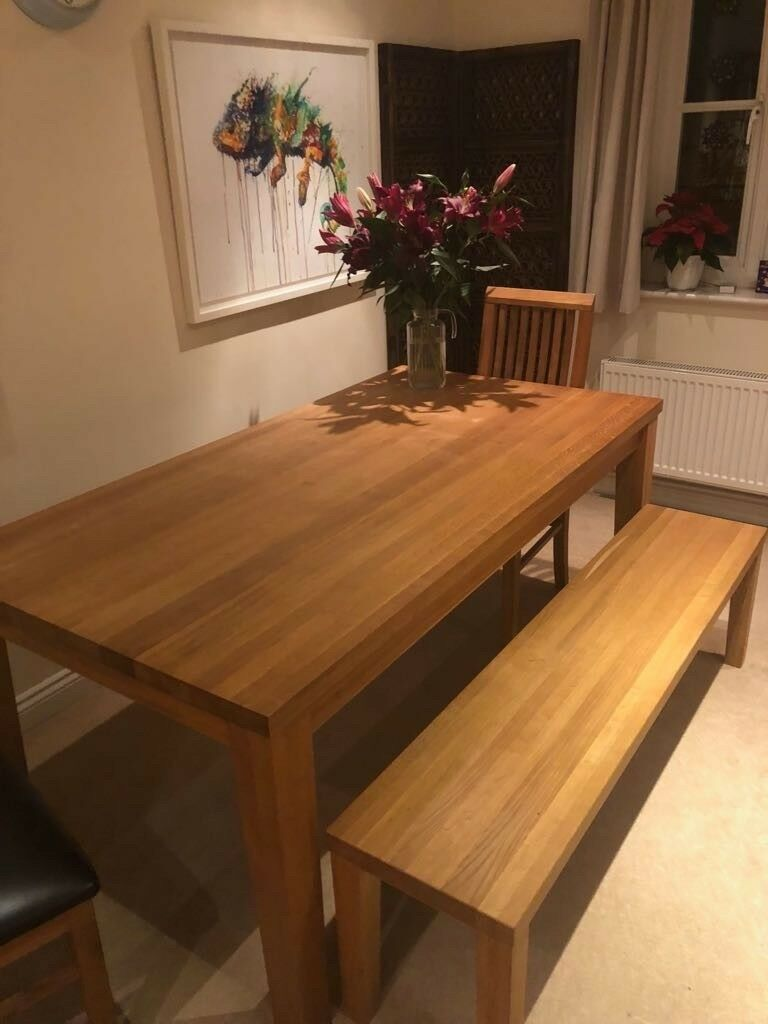 Solid oak table including bench £250 (with 3 chairs: £350)