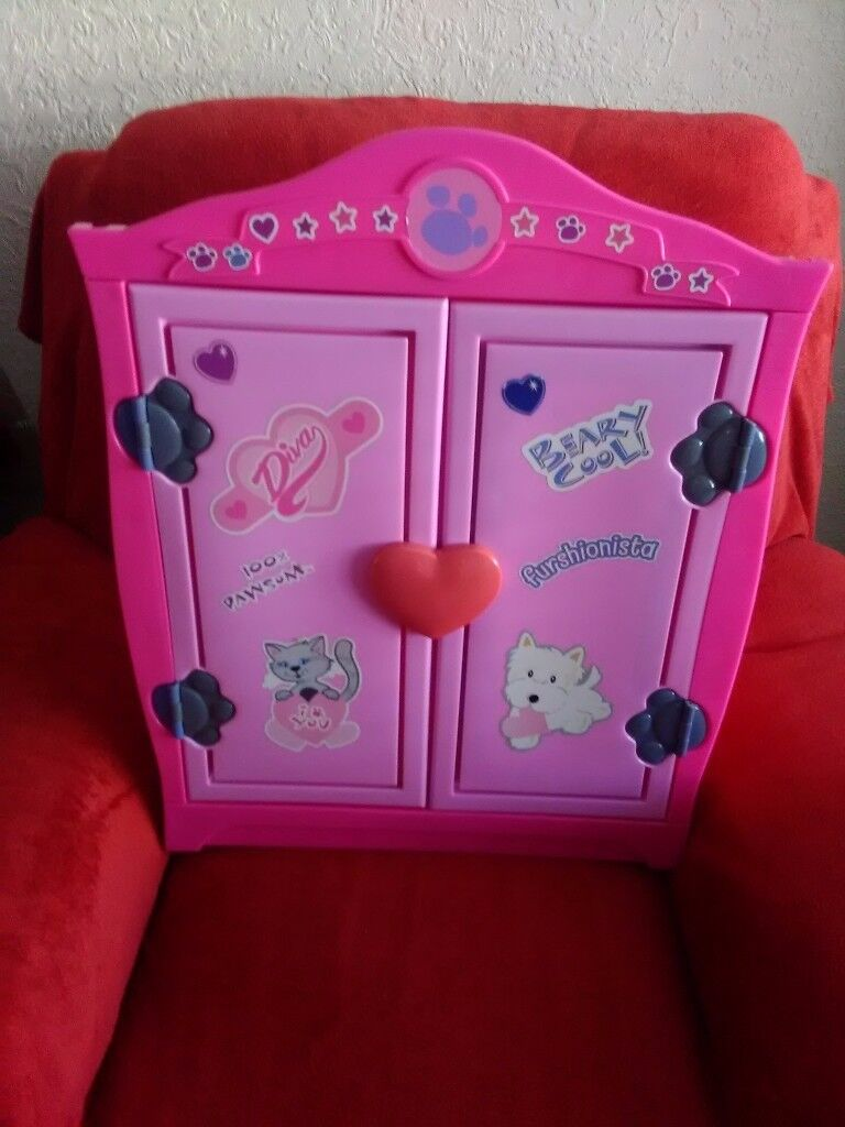 Girls pink build a bear wardrobe with matching dressing table with mirror