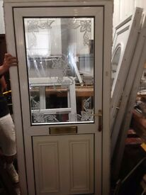 Used UPVC Door with letter box etched top glass unit 915 mm by 2070 mm