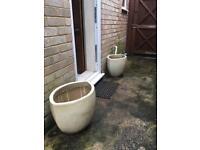 Huge glazed garden pots