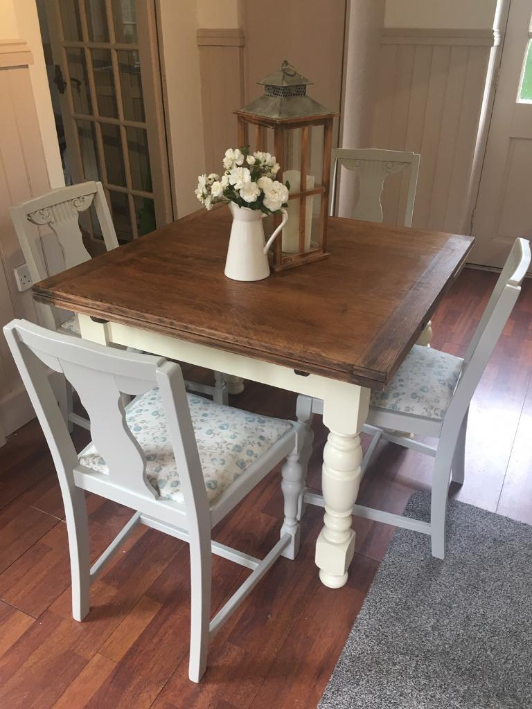 Shabby chic extending table and chairsin Swadlincote, DerbyshireGumtree - Shabby chic oak table sanded and waxed , the legs have been spray painted in a vintage cream furniture paint by crownThe chairs have been spray painted in French grey eggshell finish paint , and the chair pads have been reupholstered in a fabric by...