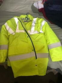 Mens high visability jackets and safety boots