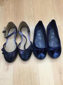 2 pairs of Blue girls glitter sequin party shoes size 11