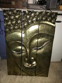 Solid teak buddha face