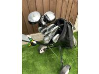 Full set of golf clubs with bag & trolley