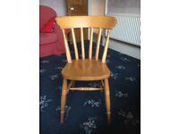 Ikea pine table and 6 dining chairs.