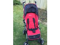 Silver Cross Pop Stroller Red and Black with Rain Cover and Shopping Basket