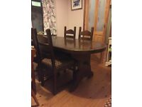 Refectory table and 4 solid oak Dutch chairs
