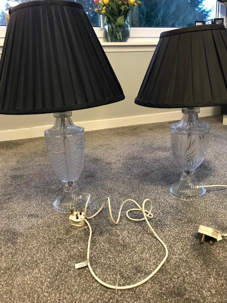 Glass table lamps with black silk shade