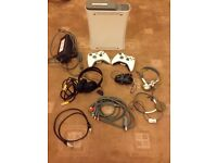 White Microsoft Xbox 360 Core 60GB Video Game Console W/ Controllers & Headsets - Full Working Order