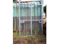 PAIR OF GALVANIZED STEEL MESH COMPOUND GATES