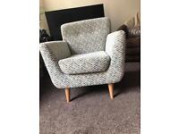 Creme and duck egg blue lounge bucket chair / arm chair