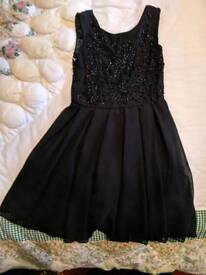 Girls black dress age 7