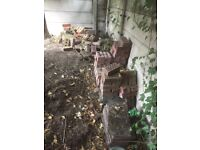Free bricks, paving slabs, and concrete posts for pillars