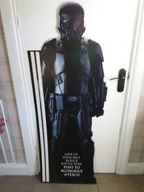 Large cardboard star wars death trooper from Tesco advertising display