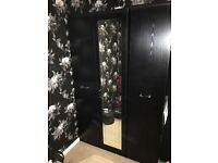 Black double and single wardrobe, narrow and wide 5set of draws and 2 bedside tables