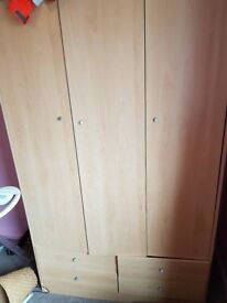 3 door beech effect wardrobe