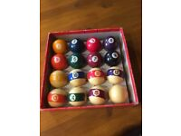 Snooker and pool balls cues kit