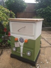 Bedside draws- solid pine and hand painted in a campervan theme