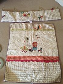Cot quilt and bumper mamas and papas