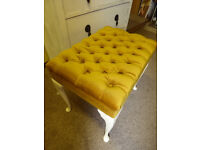 Immaculate gold velvet dressing table stool with padded seat