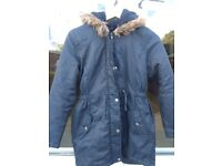 Blue Zoo Debenhams – Dark Blue Girls Parka Coat Jacket With Hood –age 11-12 - very good condition