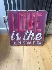 New Wood Plaque Sign 'Love is the Answer' Large Distressed Effect New and Sealed