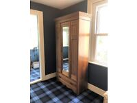 Pretty wardrobe / cupboard, wooden with mirror and carvings