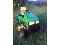 John Deere 455 with mulch deck, front broom, snowplough, quick hitch, pto, tyre chains, weight box