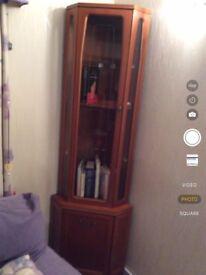 Wood and glass corner unit