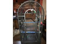 Parrot cage with open top play stand