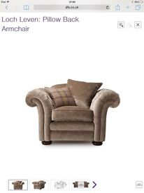 Large DFS loch leven armchair (chesterfield style) velvet fabric in sage