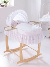 Clair De Lune Broderie Anglaise Moses basket