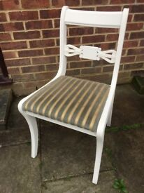 Stunning Glenister Chair painted in Antique White and reupholstered in any fabric