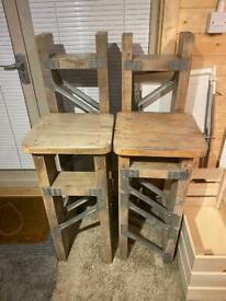 Bar stools x 2 unique design