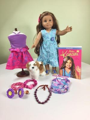 American Girl KANANI Doll Lot, Pierced Ears, Hula, Dog, More!