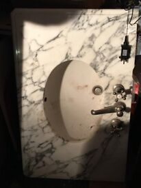 100% Marble sink with fixtures