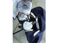 MENS RIGHT HAND GRAPHITE GOLF CLUBS WITH BAG AND TROLLEY