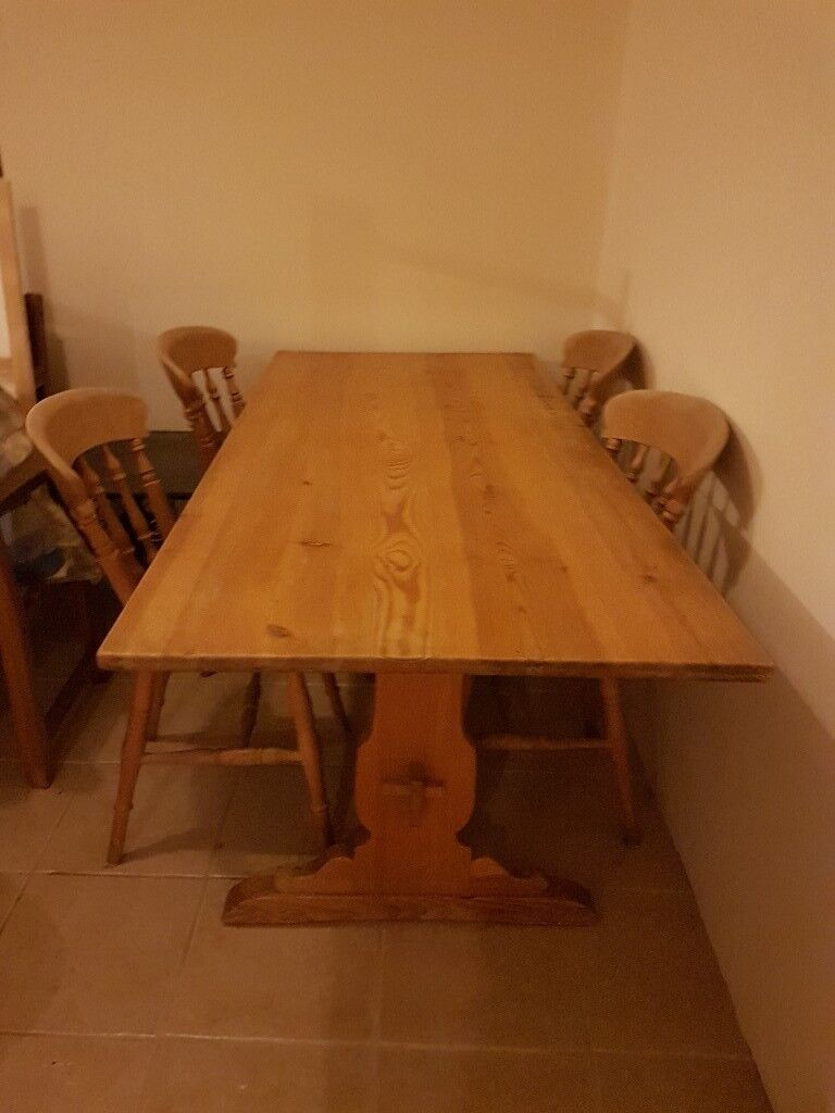 Large Solid Pine Table and 4 Chairs. Suitable for kitchen or dinning room