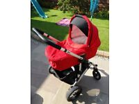 Brio Sing Travel System - includes pram, puschair, car seat, isofix base, raincover and footmuff