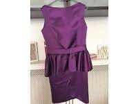 Beautiful Bateau Sleeveless Taffeta Purple Bridesmaid Gown Sheath UK 18 - NEW